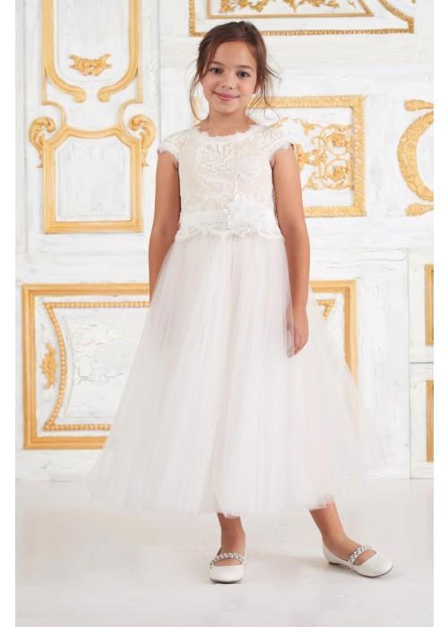 薄纱蕾丝腰带装饰花童礼服