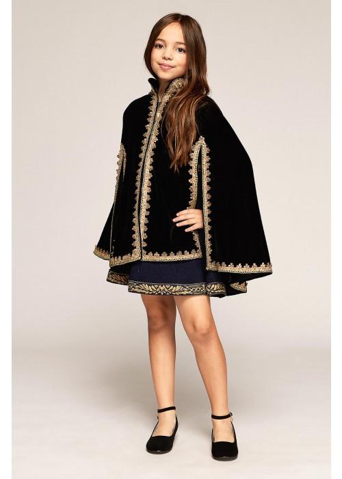 金色镶条丝绒斗篷外套